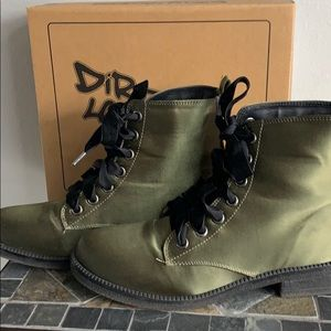 Dirty Laundry Stefan Satin Olive Combat Boots